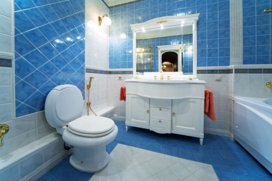 toilet smell in blue bathroom